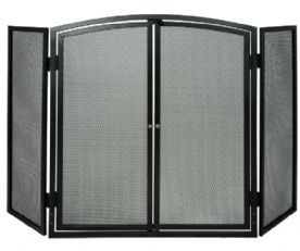 Fire Screen with Doors 3 Panel Stove Fire Woodburner Guard Coal Open
